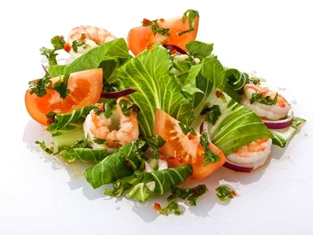 Салат из пак-чой с креветками