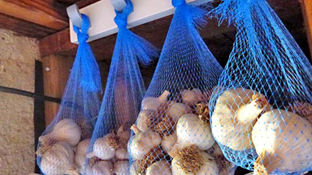 Хранение чеснока в сетках